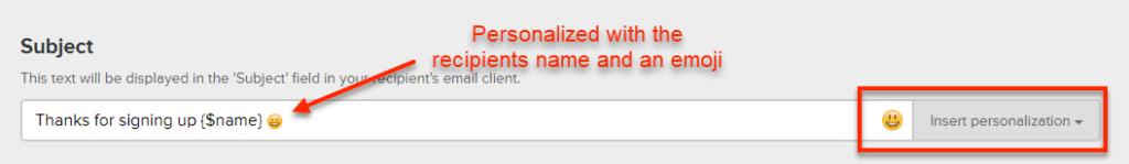 MailerLite Email Subject with Emoji
