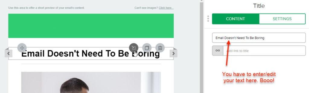 Mailerlite Text Blocks Sidebar Menu