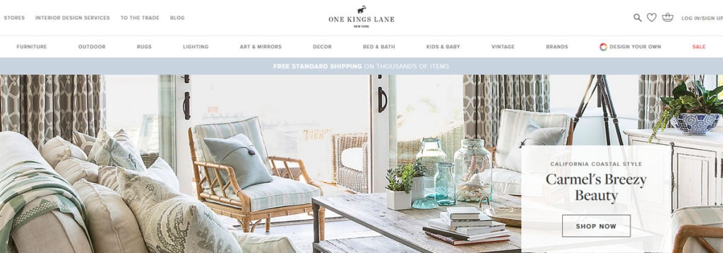 One Kings Lane Homepage