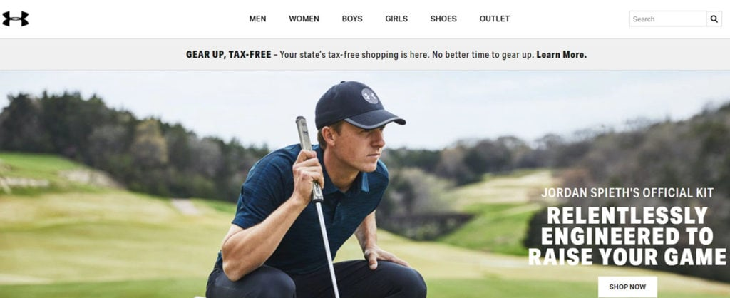 Under Armour Homepage