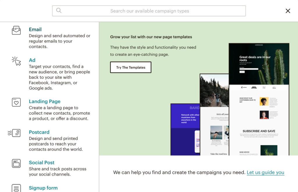 Create New Campaign In Mailchimp Dashboard.