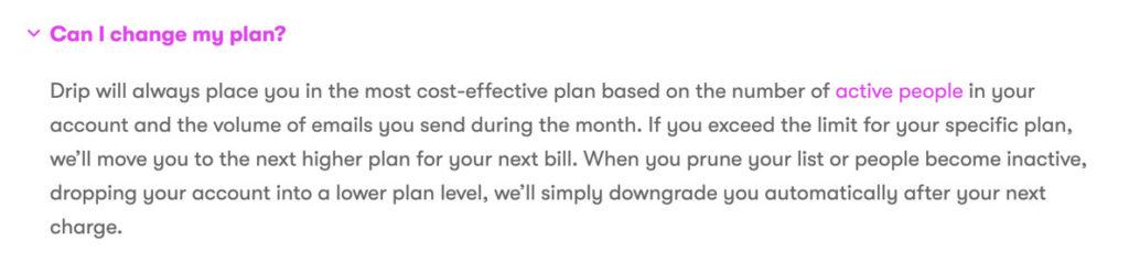 Drip Plan Change