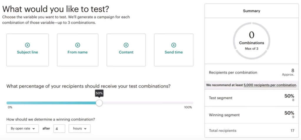 Mailchimp A/b Testing Options