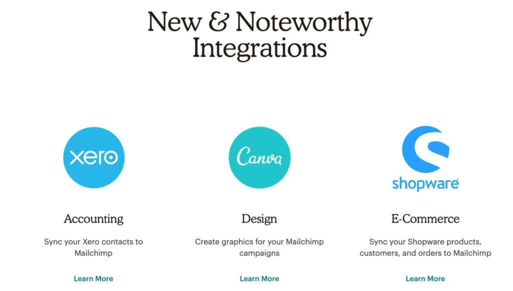 Mailchimp New Integrations