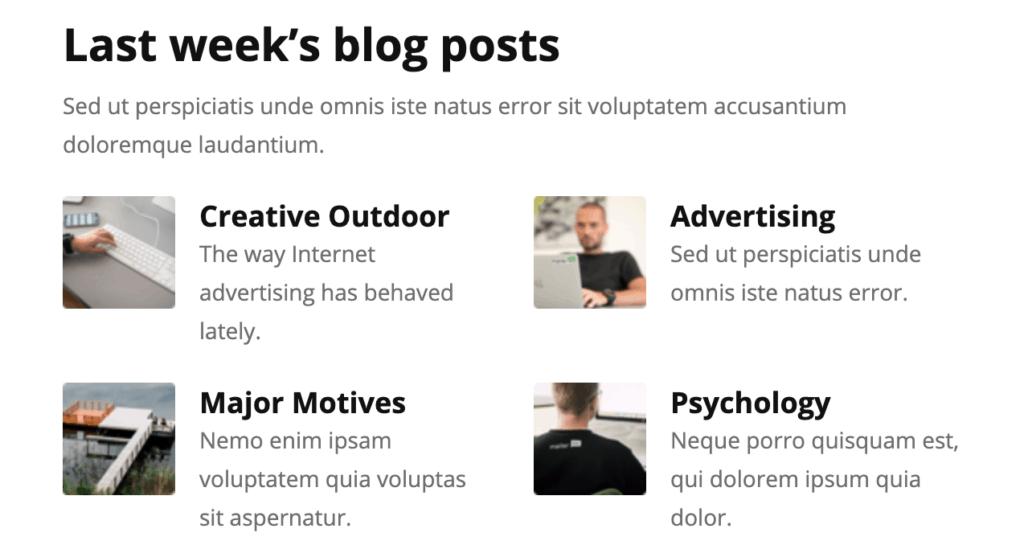 Mailerlite Newsleter Premade Content Blocks