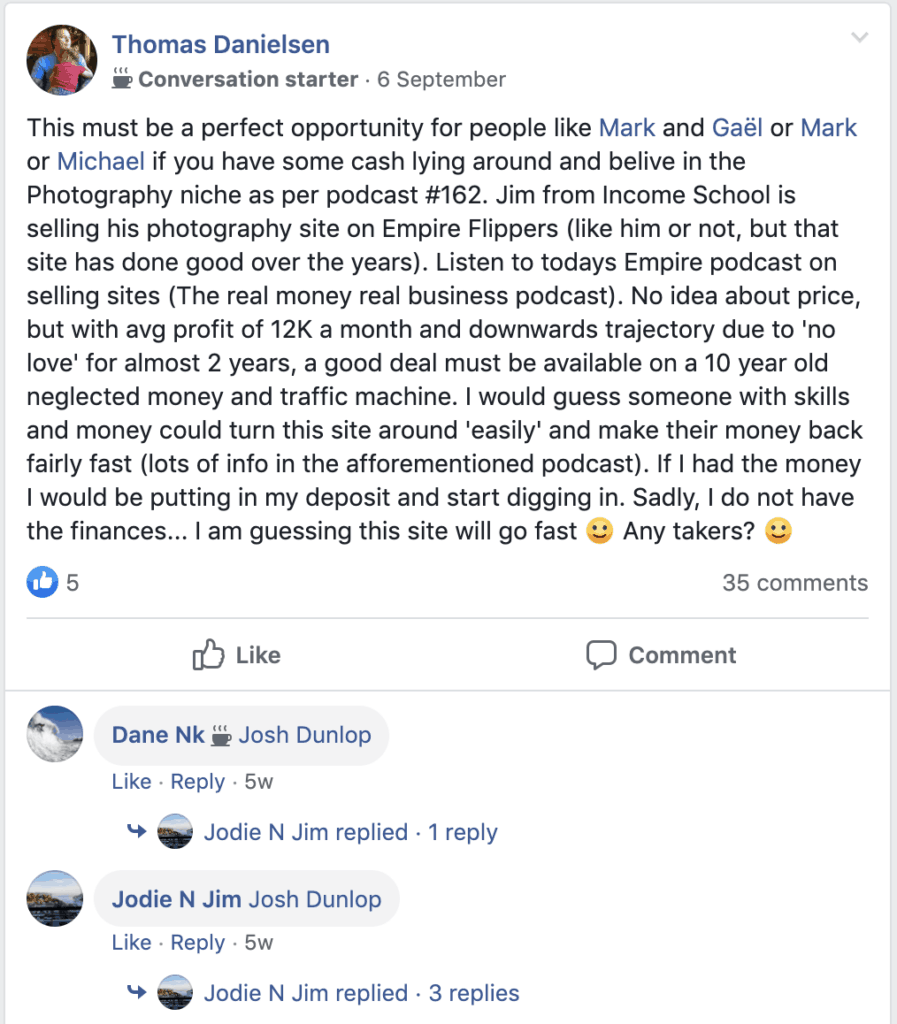 AH Pro Comment On Selling Photograpy Site