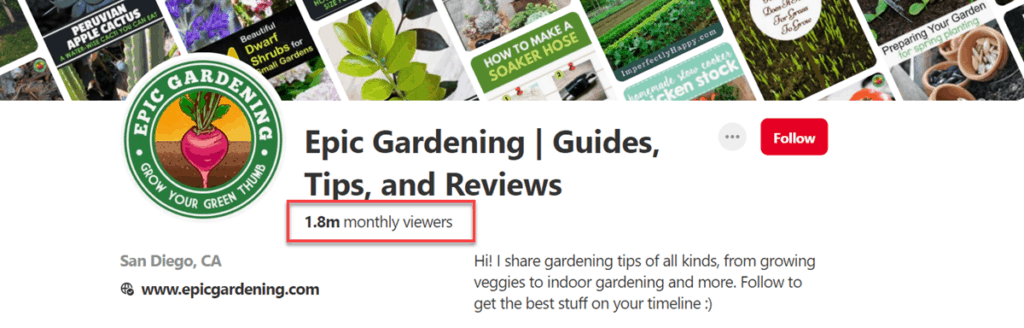 Epic Gardening Pinterest Monthly Viewers