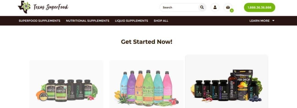 صفحه وب Superfood Texas