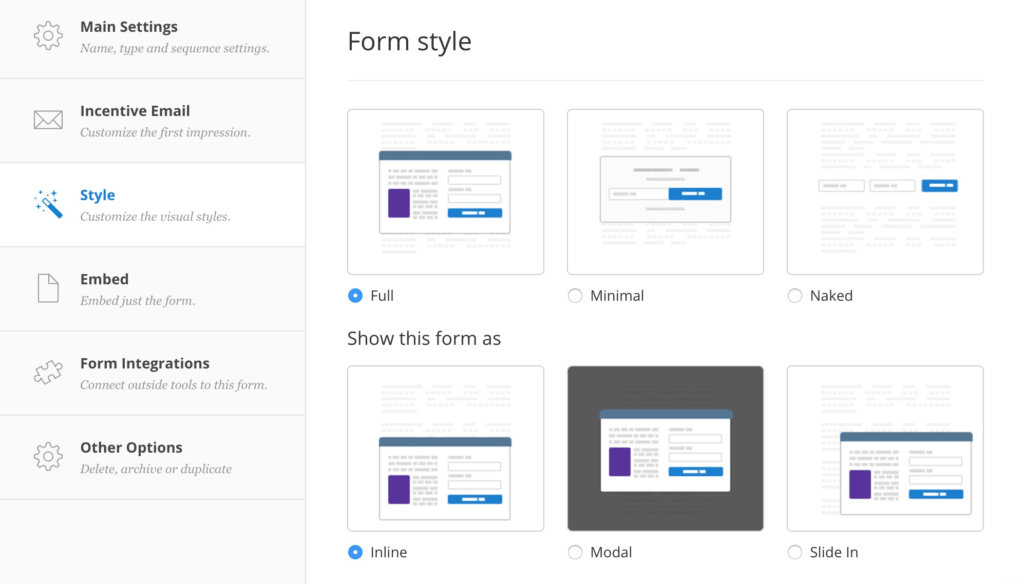 Convertkit Form Styles Options
