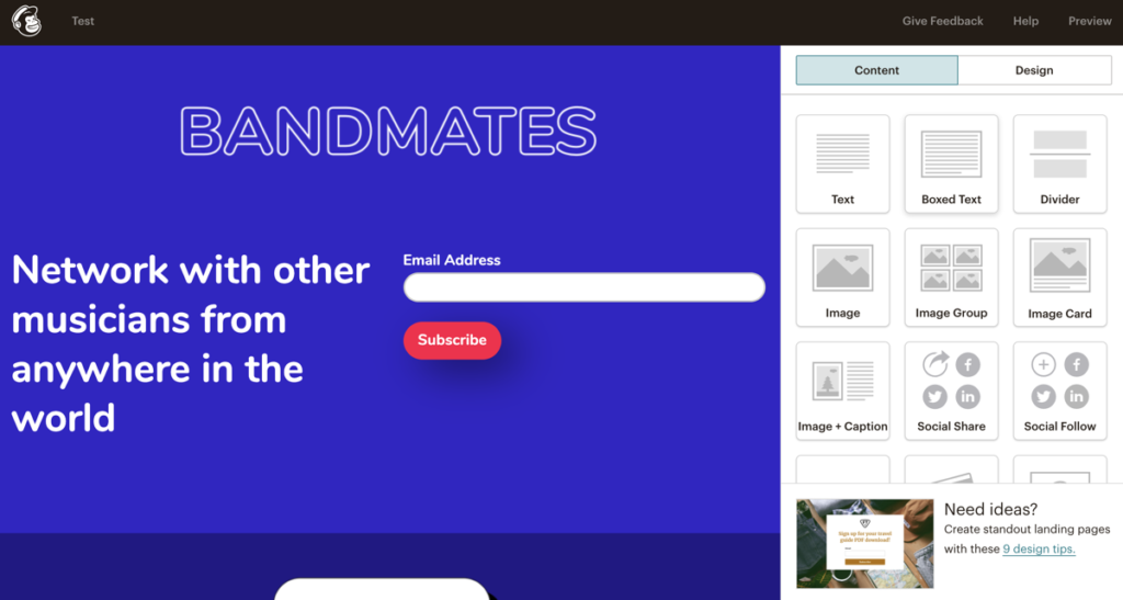 Mailchimo Landing Page Template