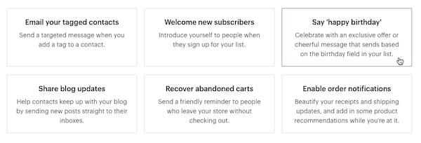 Mailchimp Automated Campaigns List
