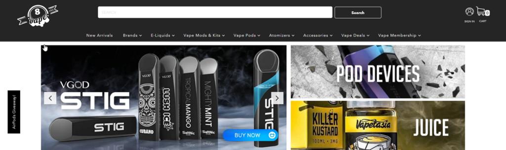 Eithvape Homepage Screenshot