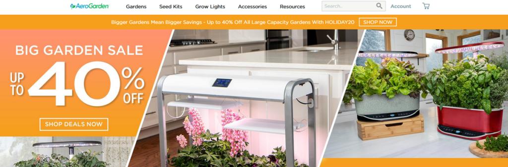 Aero Garden Homepage Screenshot