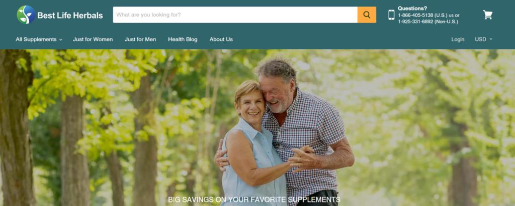 Best Life Herbals Homepage Screenshot