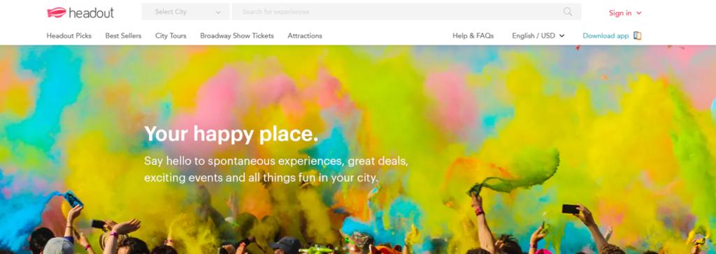 Headout Homepage Screenshot