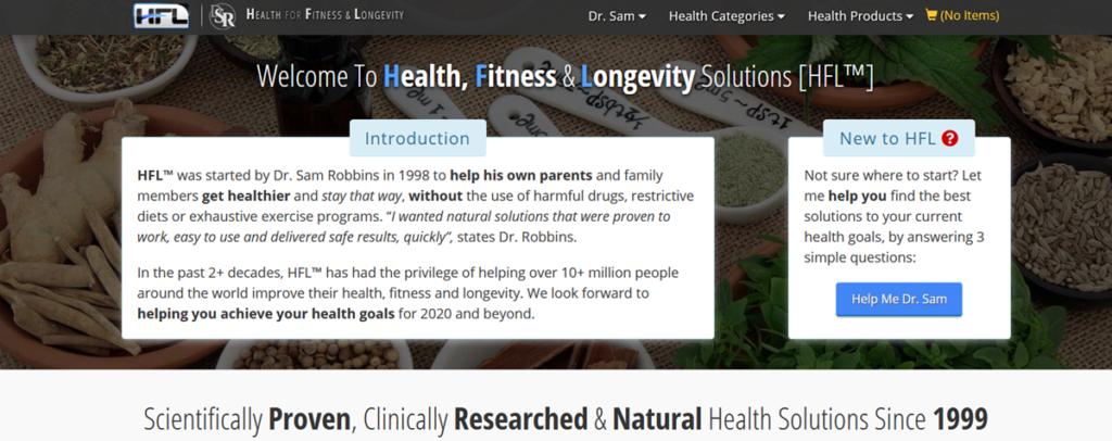 Health Fitness & Longevity Homepage Screenshot
