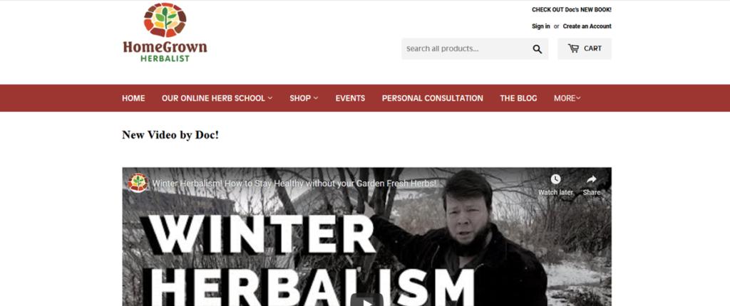 Homegrown Herbalist Homepage Screenshot