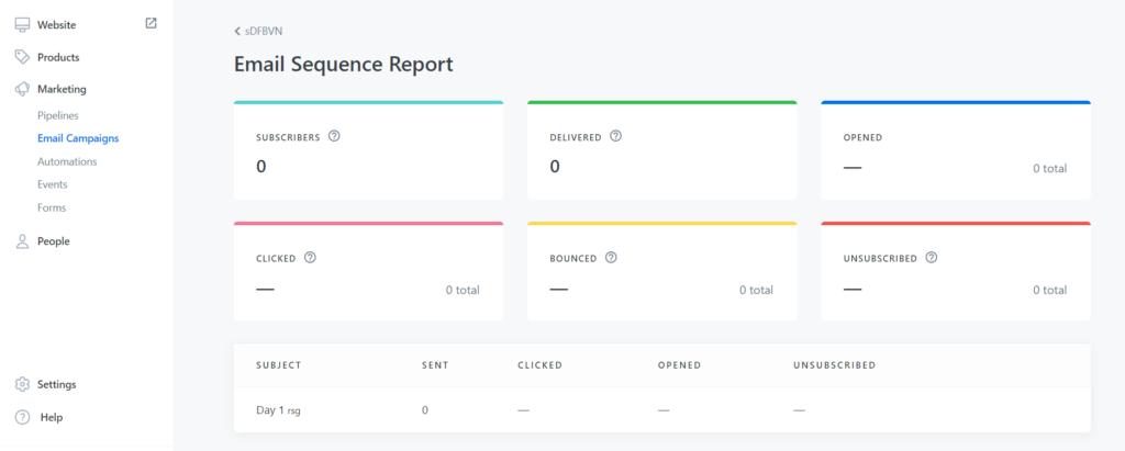 Kajabi Email Sequence Report