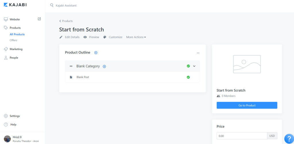 Kajabi Product Start From Scratch