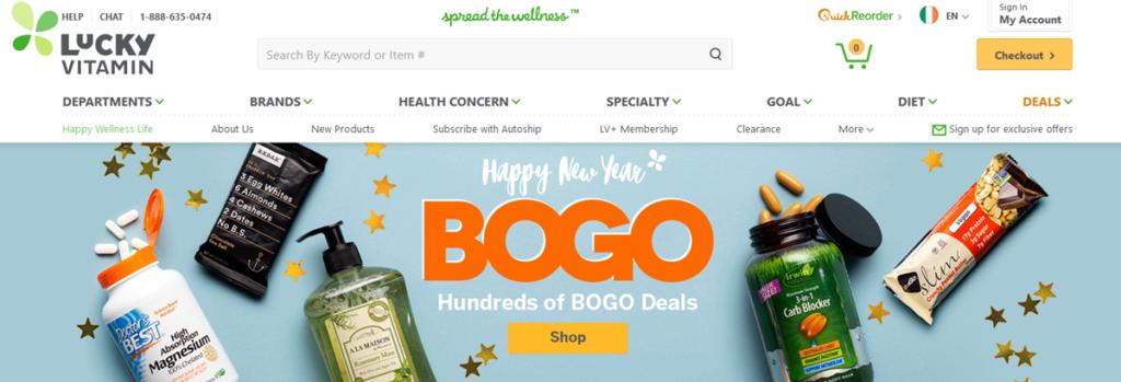 Lucky Vitamin Homepage Screenshot