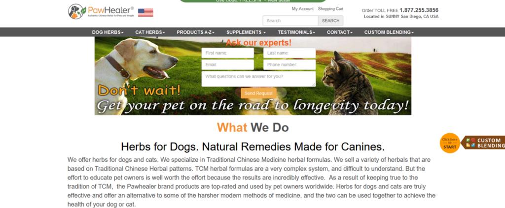 Paw Healer Homepage Screenshot