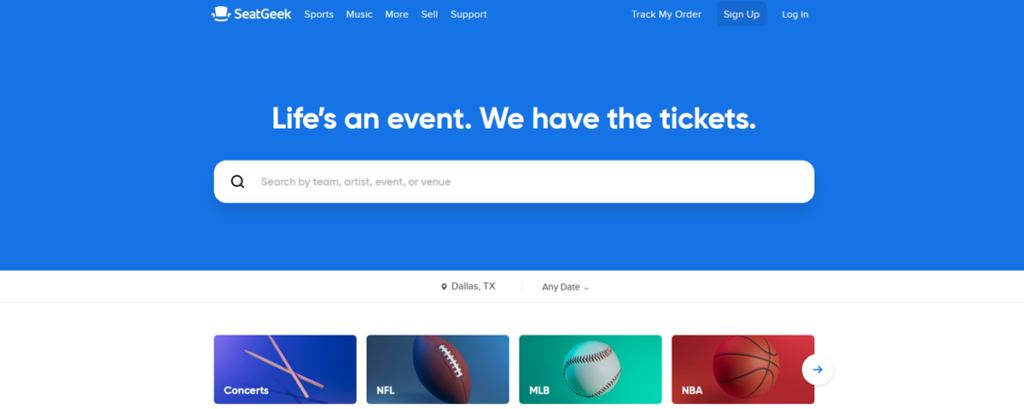 Seatgeek Homepage Screenshot