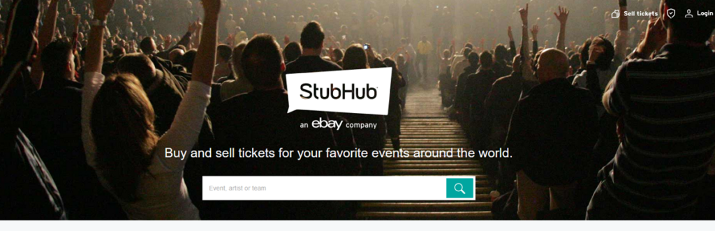 Stub Hub Homepage Screenshot