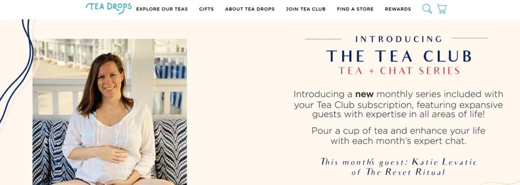 Tea Drops Homepage Screenshot