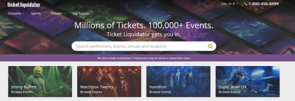 Ticket Liquidator Homepage Screenshot