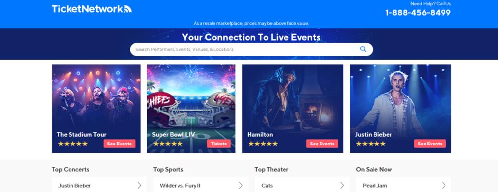 Ticket Network Homepage Screenshot