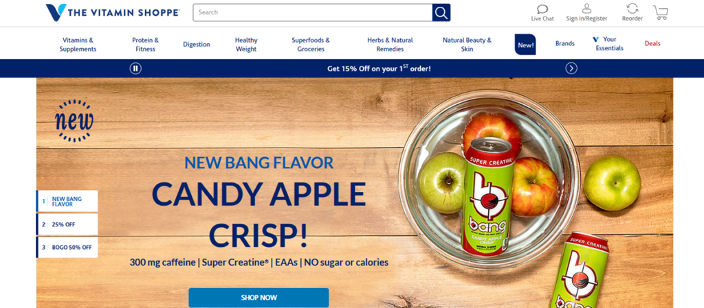 Vitamin Shoppee Homepage Screenshot