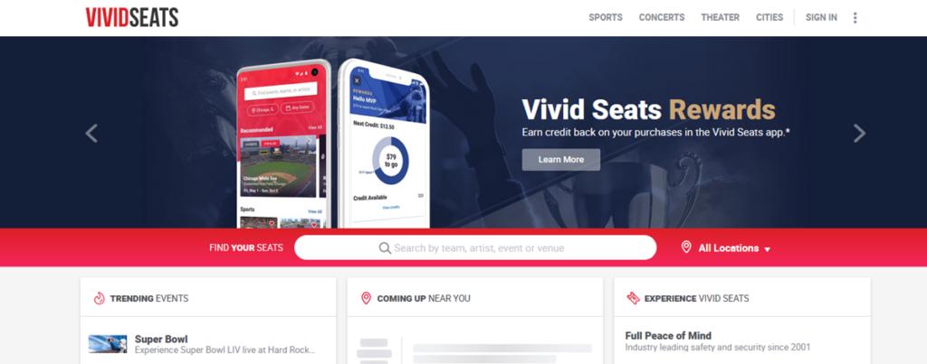 Vivid Seats Homepage Screenshot