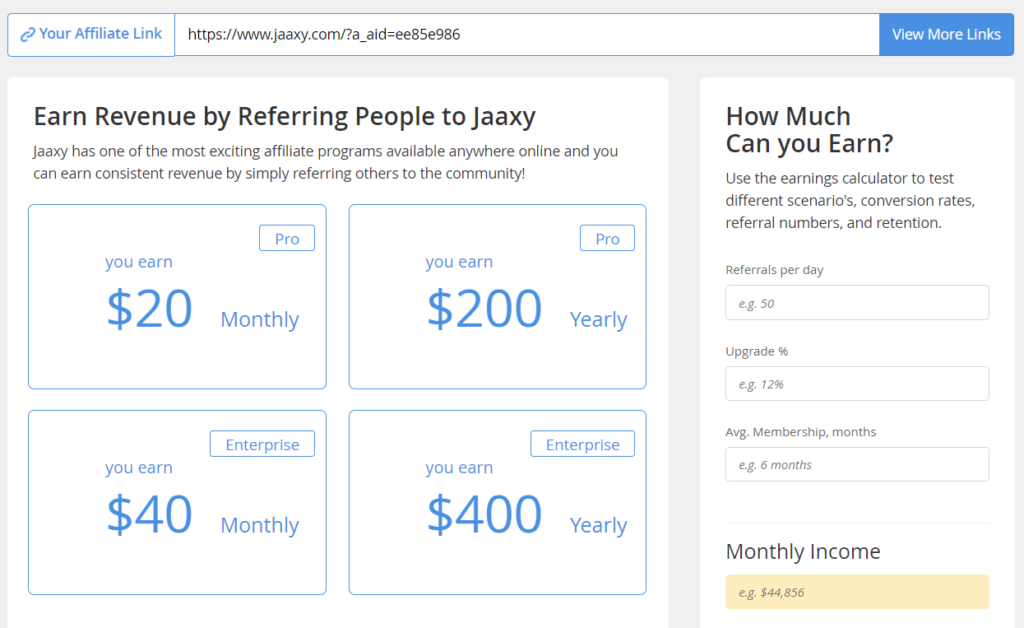 Jaaxy Affiliate Commissions