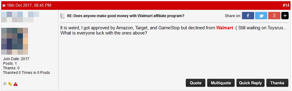 Walmart Affiliate Program Rejection Comment