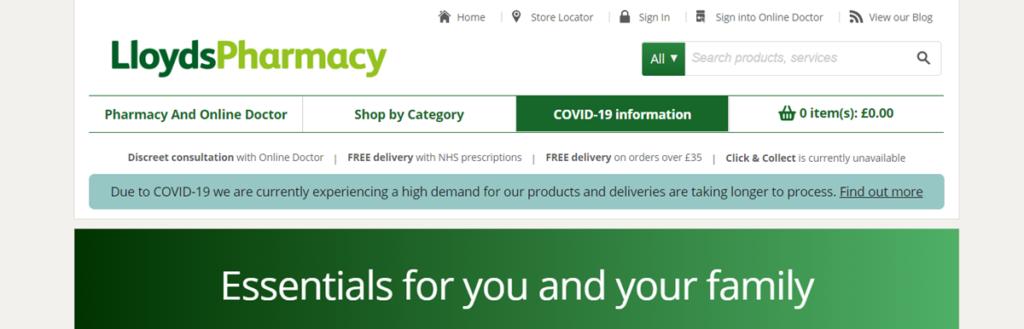 Lloyds Pharmacy Homepage Screenshot