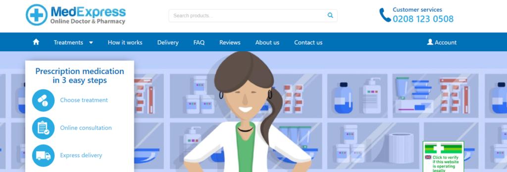 Medexpress Homepage Screenshot