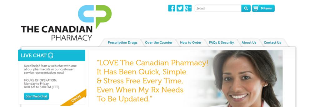 The Canadian Pharmacy Homepage Screenshot
