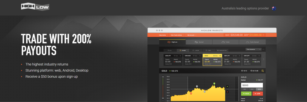 High Low Homepage Screenshot
