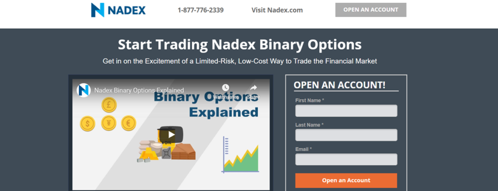 Nadex Homepage Screenshot