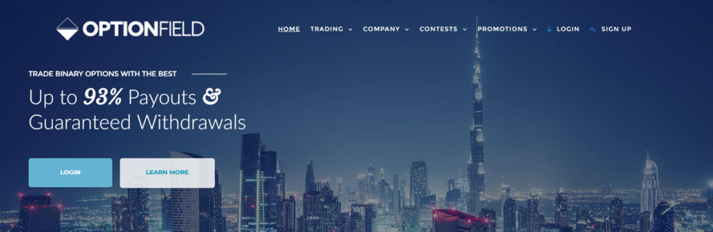 Optionfield Homepage Screenshot