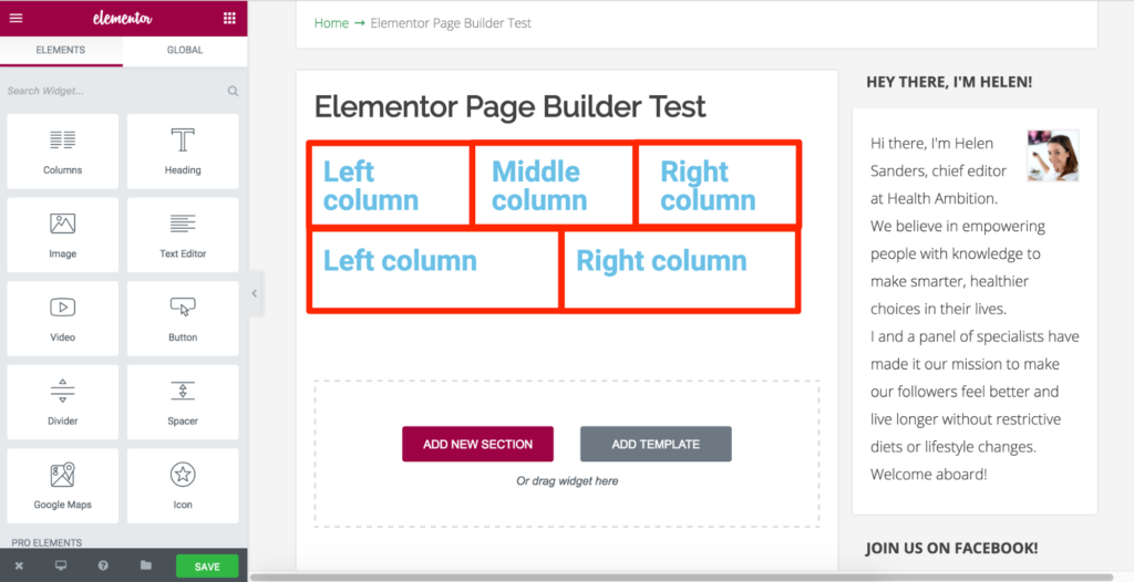 Elementor Columns Contained With Sections