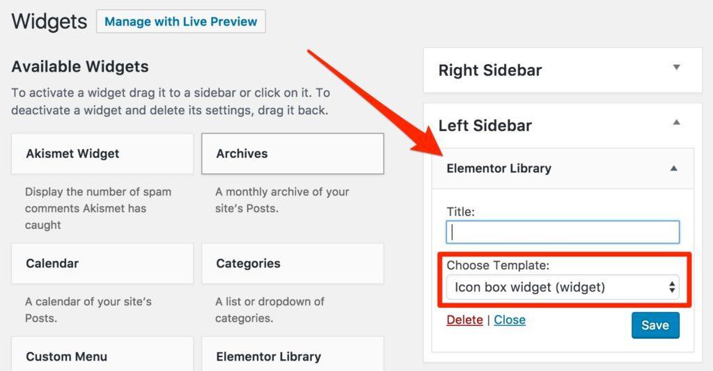 Elementor Library WordPress Widget