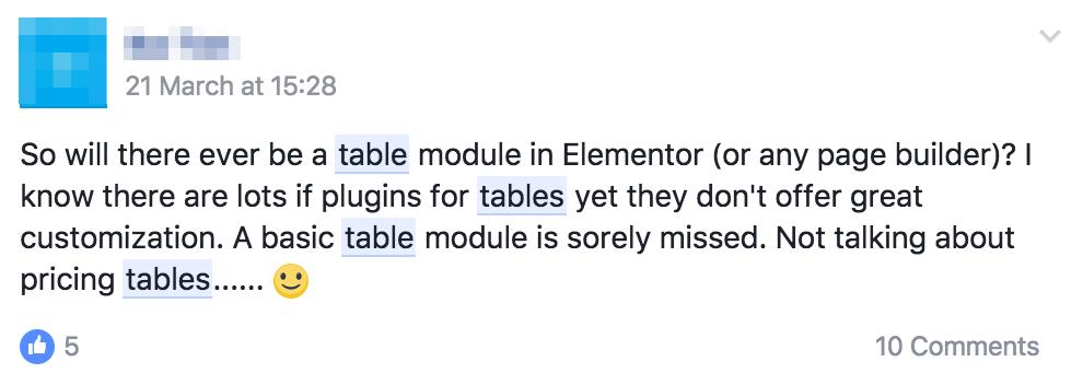 Elementor Table Element Comment