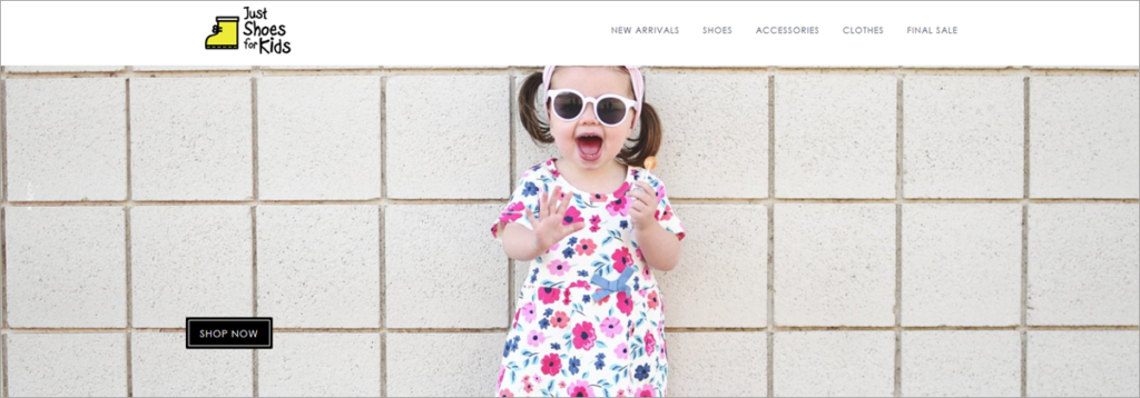 Just Shoes For Kids Homepage Screenshot