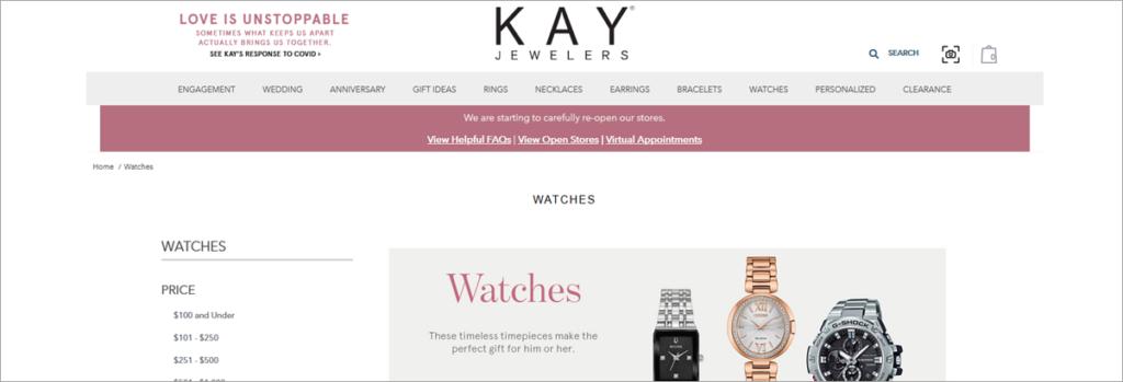 Kay Jewelers Homepage Screenshot