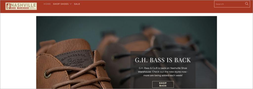 Nashville Shoe Homepage Screenshot