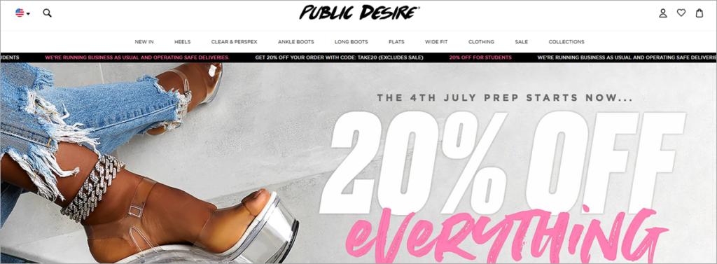 Public Desire Homepage Screenshot