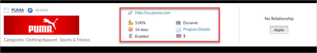 Puma Affiliate Program Stats
