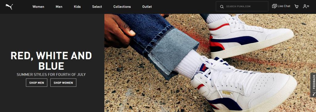 Puma Homepage Screenshot