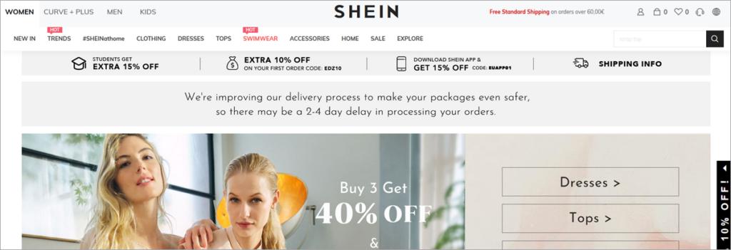 Shein Homepage Screenshot
